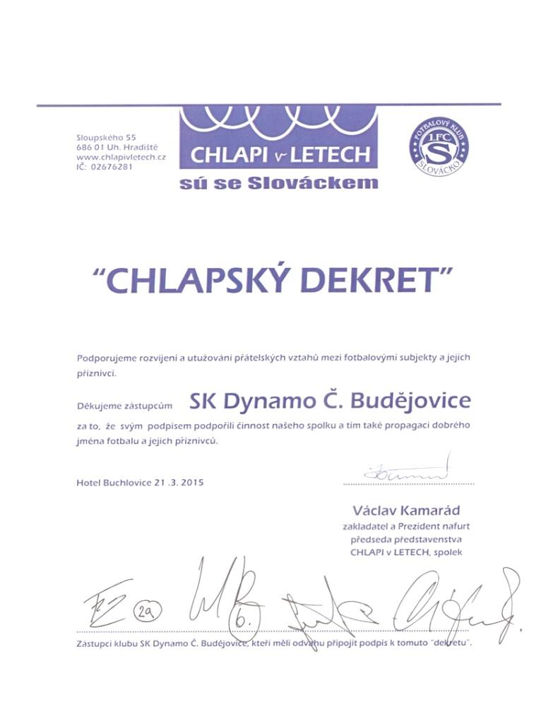 Dekret Chlapi v letech České Budějovice
